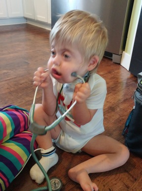 He knows just what to do with a stethoscope.